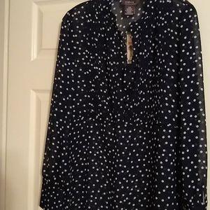Navy blue polka dot sheer blouse, nwt